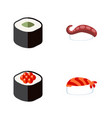 flat icon salmon set of japanese food sashimi vector image vector image