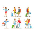 flat set of people with travel bags vector image vector image