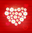floral heart with lights effect on bright vector image vector image