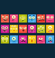 funny colorful square face of monsters with vector image vector image