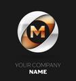 golden letter m logo symbol in the circle shape vector image