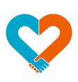 heart shape handshake vector image vector image