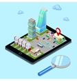 Isometric Mobile Navigation Tourism Industry vector image