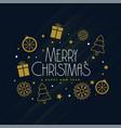 merry christmas decoration elements on dark vector image