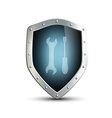 metal shield with the image of the tool isolated vector image vector image