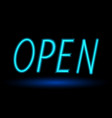 open neon sign vector image vector image