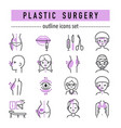 plastic surgery body parts face correction vector image