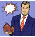 pop art real estate agent vector image vector image