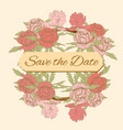 postcard wedding invitation vintage pink peonies vector image