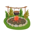 Pot on bonfire vector image