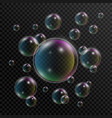 realistic soap bubbles set of soap bubbles with vector image vector image