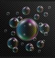 realistic soap bubbles set soap bubbles vector image vector image