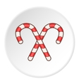 Striped candy cane icon cartoon style vector image
