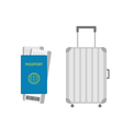 suitcase icon travel baggage passport air boarding vector image