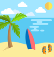 Summer vacation background island with palm vector image