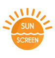 sun sea screen uv logo flat style vector image vector image