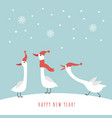 Three cute geese in red hats and scarves in winter
