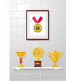 trophy awards and medal collection on a white vector image vector image
