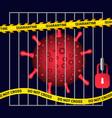 virus in prison cage lockdown quarantine vector image vector image