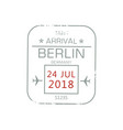 visa stamp isolated berlin international airport vector image vector image