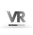 vr v r lines letter design with creative elegant vector image vector image