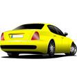 yellow car sedan on the road vector image vector image