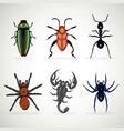 insects animal dangerous icons set cartoon vector image