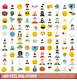100 feeling icons set flat style vector image vector image