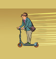 a businessman rides an electric scooter vector image