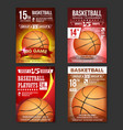 basketball poster set design for sport bar vector image vector image