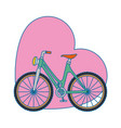 bicycle vehicle with heart vector image vector image