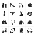 Black Female Fashion objects and accessories icons vector image vector image