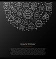 black friday icons collection banner with sale vector image vector image
