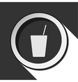 black icon with drink and straw - stylized shadow vector image vector image