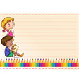 Border design with children and colorpencils vector image vector image