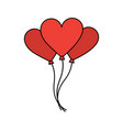 bunch balloons shaped heart love romantic vector image vector image