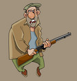 cartoon angry funny man with a gun in his hands vector image vector image