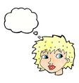 cartoon surprised woman with thought bubble vector image vector image
