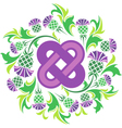 Celtic knot surrounded by flowers thistle vector image