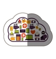 color sticker with cloud service and apps set vector image vector image
