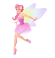 Cute flying fairy in pink flower dress with vector image