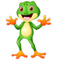 cute frog cartoon waving both hands vector image