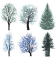 deciduous coniferous trees set christmas trees vector image