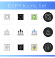 different types fabric feature icons set vector image