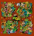 doodle cartoon set of indian designs vector image vector image