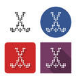 dotted icon field hockey in four variants with vector image vector image