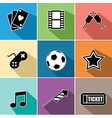 Entertainment icons set flat design vector image vector image