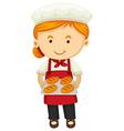 Female baker holding fresh bread vector image vector image
