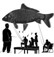 fishing people silhouettes collection people catc vector image