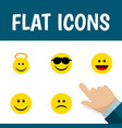 flat icon expression set of angel laugh sad and vector image vector image